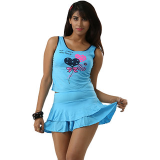Pleasant Swim Sexy Sky Blue Haltered Neck Two Piece Skirted Bottom Tankini-Beach Wear.