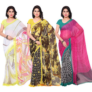 Surat tex Multi Colored Chiffon  Corsa Georgette Printed Casual Wear Combo of 3 Saree -ST3SE005