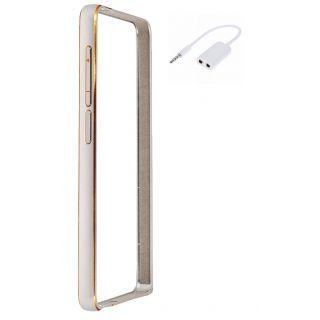 HTC Desire 816 Bumper Case Cover Silver With Aux Splitter
