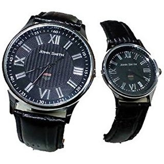 JOHN SMITH HIS N HER 5003 BLK COUPLE WATCH SET