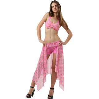 Fashionable And Classy Pink Polka Dot Stylish 3-Piece Bikini Set With Incredible Wrap