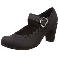 Catwalk Women's  Black Round Toe Buckle Heels