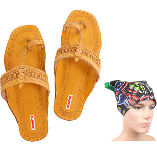 Sushito Traditional Kolhapuri Chappal For Men With Stylish Headwrap  JSMKCM0159-JSMFHHR0184
