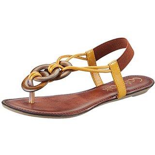 Catwalk Women Gold Brown Slip on Flats
