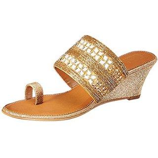 Catwalk Womens Gold Slip on Wedges