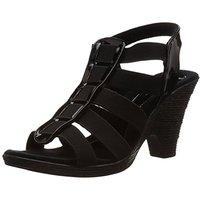 Catwalk Women's  Black Round Toe Slip On Heels