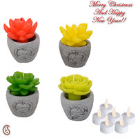 Beautiful Floral Shape Decorative Candles With Stand (Set Of 4)