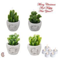 Cute Little Plant Style Decorative Candles With Stand (Set Of 4)