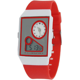 Zillin Red Sports Dual Time Alarm Wrist Watch For Kids