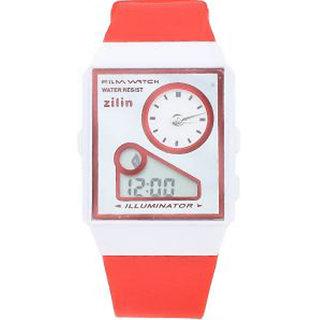 Zillin Orange Sports Dual Time Alarm Wrist Watch For Kids
