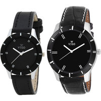 Vego AGE009 Couple's Combo Pack Of 2 Black Coloured With Black Synthetic Leather Strap Quartz Watch