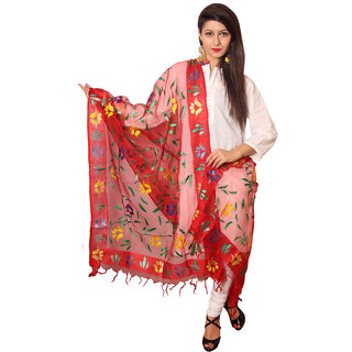 Vasavi Red Silk Printed Dupatta