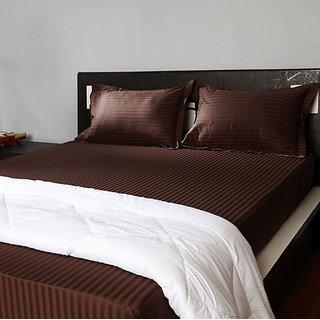 Mocha Mocha Sateen Stripe Pillow Covers (Pillow Cover (2pc Set))