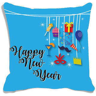 meSleep Happy New Year Balloon Digitally Printed Cushion Cover (16x16)
