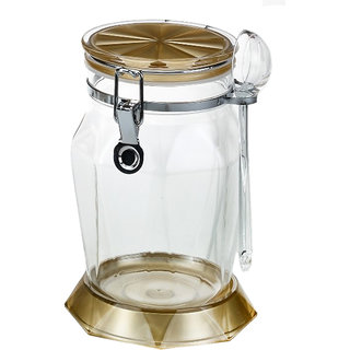 Tuelip Large Diamond Shape Designed 1250 ml Kitchen Storage Airtight Canister with Lids and Spoon