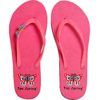 Toe Spring Butter Fly Pink Flip Flop For Women