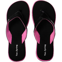 Toe Sprinig Trendy Black Pink Flip Flop For Women