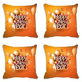 meSleep Happy New Year Cocktail Party Digitally Printed Cushion Cover (16X16) - Set of 4