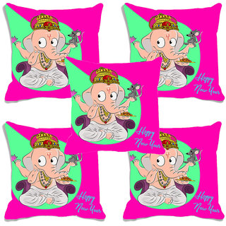 meSleep Happy New Year Ganesh Digitally Printed Cushion Cover (16x16) - Set of 5