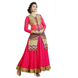 Surat Tex Magenta Color Party Wear Embroidered Bandhani Jacquard  Heavy Georgette Semi-Stitched Anarkali Suit-I112DL206