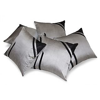 Classical Design Silver & Black Cushion Cover 5 Pcs Set 40 X 40 Cms