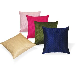 Multi Color Quilted Cushion Covers 40 X 40 Cms 5 Pcs Set