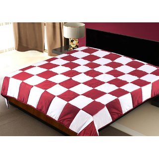 Patch Work Red N White Sigle Quilt (225X150 Cms)