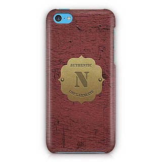 YuBingo Monogram with Beautifully Written Wooden and Metal (Plastic) Finish letter N Designer Mobile Case Back Cover for Apple iPhone 5C