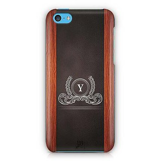 YuBingo Monogram with Beautifully Written Wooden and Leather (Plastic) Finish letter Y Designer Mobile Case Back Cover for Apple iPhone 5C