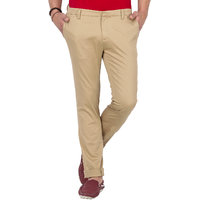 Mufti Beige Slim Fit Low Rise Chinos For Men