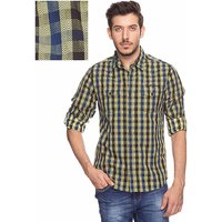 Mufti Yellow Spread Collar Half Sleeve Casual Shirt For Men