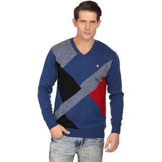 Neva Blue V-Neck Long Sleeve Pullover For Men