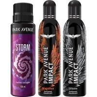 Park Avenue Impact Magnifico,Urbane,Storm Prefumed Deodorants Pack Of 3 For Men Combo Set (Set Of 3)
