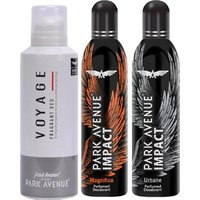 Park Avenue Impact Magnifico,Urbane,Voyage Prefumed Deodorants Pack Of 3 For Men Combo Set (Set Of 3)
