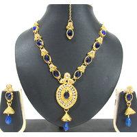 Dark Blue Oval Shape Pendant Necklace Set