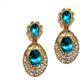Fashionable Blue  golden drop Earrings for women  Girls by shrungarika ( E-375 )