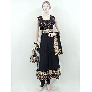 Bollywood  Designer Exclusive Indian Black Brasso Anarkali Double Flair Anarkali