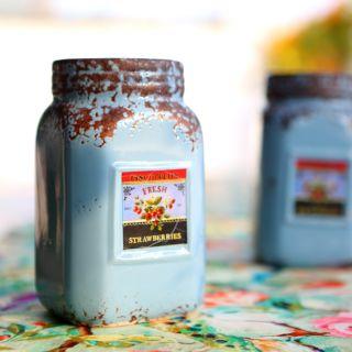 Deziworkz Blue Ceramic Mason Jar