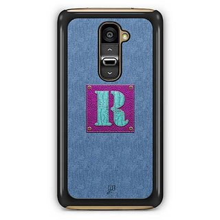YuBingo Monogram with Beautifully Written Jeans and Girly Leather Finish letter R Designer Mobile Case Back Cover for LG G2