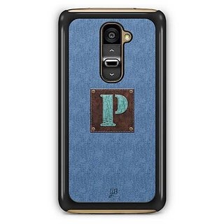 YuBingo Monogram with Beautifully Written Jeans and Macho Male Leather Finish letter P Designer Mobile Case Back Cover for LG G2