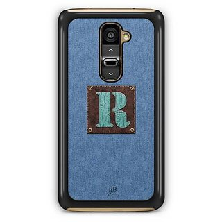 YuBingo Monogram with Beautifully Written Jeans and Macho Male Leather Finish letter R Designer Mobile Case Back Cover for LG G2