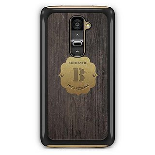 YuBingo Monogram with Beautifully Written Wooden and Metal (Plastic) Finish letter B Designer Mobile Case Back Cover for LG G2