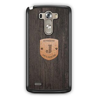 YuBingo Monogram with Beautifully Written Wooden and Metal (Plastic) Finish letter J Designer Mobile Case Back Cover for LG G3