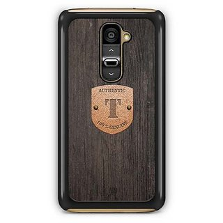 YuBingo Monogram with Beautifully Written Wooden and Metal (Plastic) Finish letter T Designer Mobile Case Back Cover for LG G2