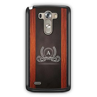 YuBingo Monogram with Beautifully Written Wooden and Leather (Plastic) Finish letter A Designer Mobile Case Back Cover for LG G3