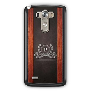 YuBingo Monogram with Beautifully Written Wooden and Leather (Plastic) Finish letter P Designer Mobile Case Back Cover for LG G3