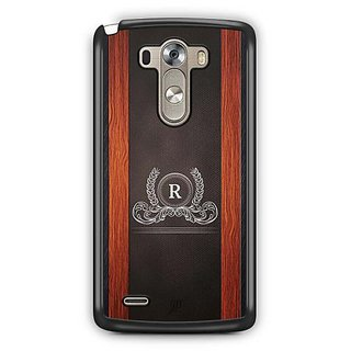 YuBingo Monogram with Beautifully Written Wooden and Leather (Plastic) Finish letter R Designer Mobile Case Back Cover for LG G3