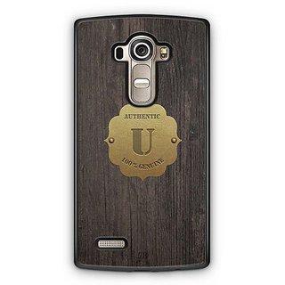 YuBingo Monogram with Beautifully Written Wooden and Metal (Plastic) Finish letter U Designer Mobile Case Back Cover for LG G4