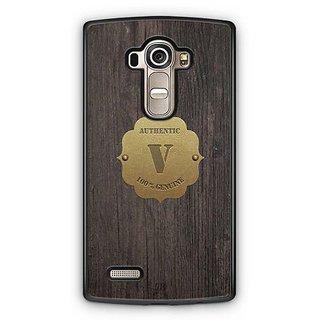 YuBingo Monogram with Beautifully Written Wooden and Metal (Plastic) Finish letter V Designer Mobile Case Back Cover for LG G4