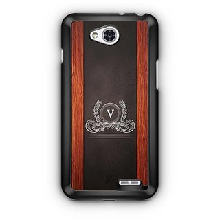 YuBingo Monogram with Beautifully Written Wooden and Leather (Plastic) Finish letter V Designer Mobile Case Back Cover for LG L90